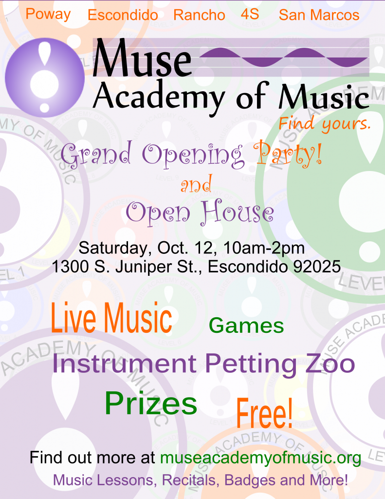 Escondido, Poway, San Marcos, Rancho Music Lessons Open House